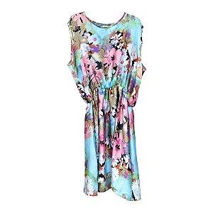 Vestido de Estampa Floral e Elástico na Cintura - Raro's