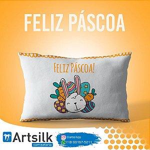 Capa de Almofada Feliz Páscoa Coelho e Ovos