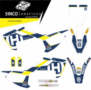 Kit Adesivos 3M Fluor Greed Husqvarna TC 65
