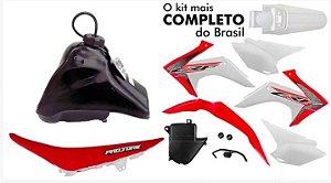Kit Plastico Crf 230 2018 Protork Adaptável Xr 200 Tornado Vermelho / Branco