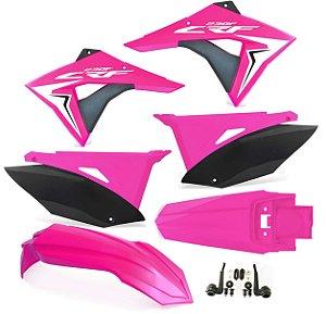 Kit Plástico Crf 230 Elite Biker 2008 - 2018 Rosa Neon