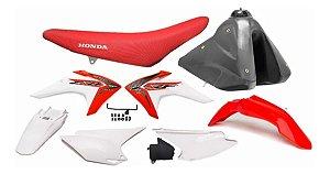 Kit Plástico CRF 230 F 2015 a 2020 AMX  Branco e Vermelho Adaptável XR 200 - XR 250 Tornado