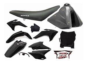 Kit Plástico CRF 230 F 2015 a 2020 - Amx Preto Adaptável XR 200 - XR 250 Tornado