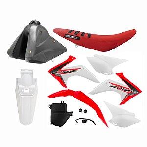 Kit Plástico Protork CRF 230 F 2015 a 2020 - Vermelho e Branco Adaptável XR 200