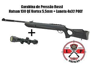 Carabina de Pressão Rossi Hatsan 130 QE Vortex 5,5mm + Luneta 4x32 poly