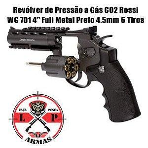 """Revólver de Pressão a Gás CO2 Rossi WG 701 4"""" Full Metal Preto 4.5mm 6 Tiros"""
