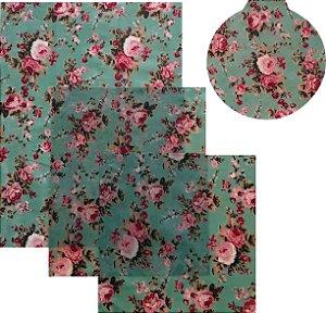 Pano de Mel Floral Azul Kit com 4