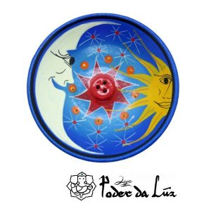 Incensário Cerâmica Sol e Lua Azul