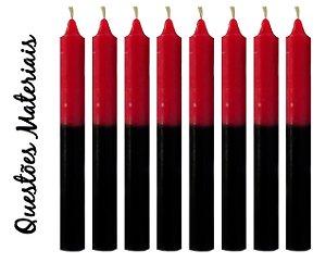 Vela Palito Bicolor Preta e Vermelha (maço 8 unidades)