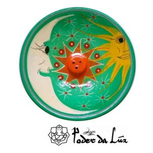 Incensário Cerâmica Sol e Lua Verde