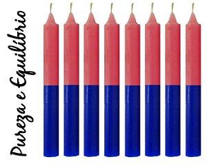 Vela Palito Bicolor Azul e Rosa (maço 8 unidades)