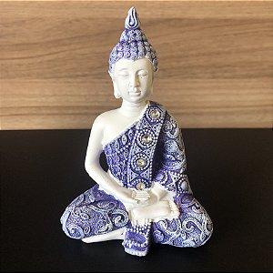 Buda da Sabedoria (Dhyana Mudra) Azul e Branco 11cm