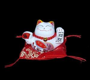 Maneki Neko Riqueza em Porcelana