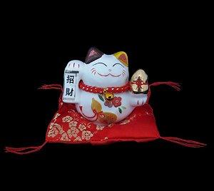 Maneki Neko Felicidade em Porcelana