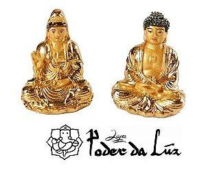 Mini Kuan Yin e Buda Dourados 6 cm