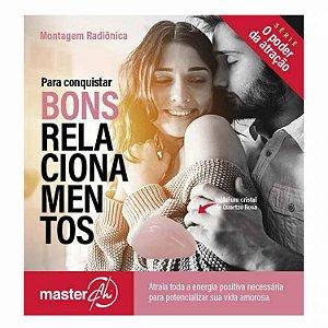Kit de Placas Radiônicas Bons Relacionamentos + Pedra quartzo Rosa