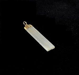 Pingente de Selenita Branca (Dourado)