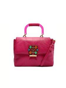 Schutz Bolsa Tiracolo Grande Treasure Couro Pink S5001815180004