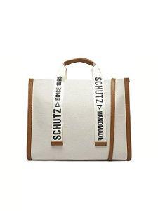Schutz Bolsa Shopping Grande Livia Lona Bege S5001002320005