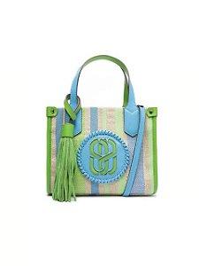 Schutz Bolsa Mini Tote Breeze Ráfia Azul e Verde S5001002160002