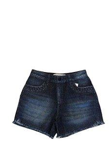 Maria Valentina Short Jeans Barra Desfiada - 202574