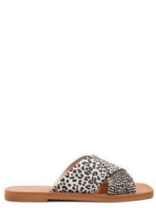 Schutz Flat Slide Animal Print Black And White - S2088900010002