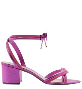 Schutz Sandália Block Heel Strings Metallic Pink S2000103750047