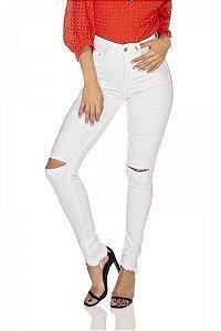 Denimzero Calca Jeans Fem Skinny Rasgo Branco Dz3124