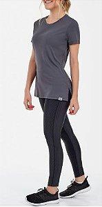 Alto Giro Tshirt Skin Fit Alongada Com Abertura Grafite 2011706
