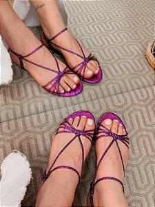 Cecconello Sandália Rasteira Flat Metalizado Pink 1534001-4