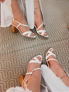 Cecconello Sandália Salto Wood Soft White 1472008-13