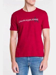 Calvin Klein Jeans Tshirt Mc Re Issue Deslocado Vermelho Tc863