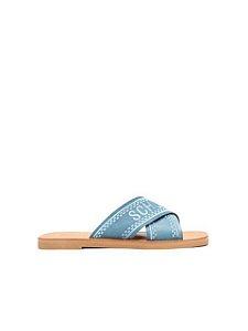 Schutz Flat Cross Jeans S2088900250004