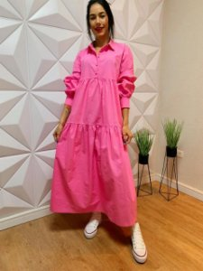 Tob Vestido Long Dress Ml Pink V1030