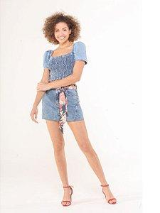 Pigmento Blusa Jeans Lastex Manga Bufante 5061076