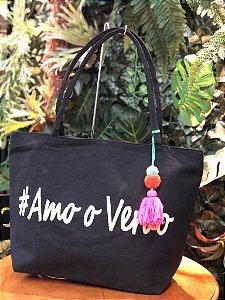 Bolsa #Amo o Verão Preto E003698