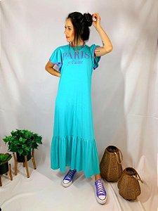 Vestido Longo Paris Azul 10314