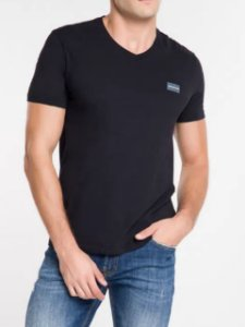 Calvin Klein Jeans Camiseta Basic Gola V Preto TC830