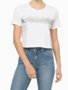 Calvin Klein Jeans Cropped Silk New Year Branco BC614