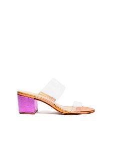 Schutz Tamanco Tiras Vinil Metalizado Purple / Orange S2000103270055