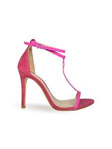 Schutz Sandália Salto Alto Camurça Pink S0138716290001