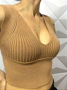 Cropped Tricot Alça Nude 0001-C
