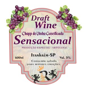 Chopp de Vinho 600ml - SENSACIONAL - Gaseificado - (Artesanal)