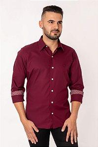 Camisa Casual Maquineta Manga Longa Bordô 122-19