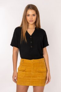Camisa Feminina Peitilho Lisa Manga Curta Preta 408-20