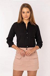 Camisa Feminina Lisa Manga Longa Preta 446-19