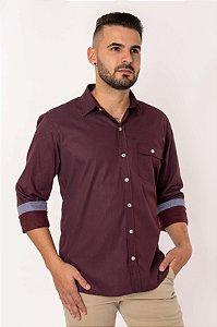 Camisa Casual Estampada Manga Longa Bordô 836-19