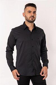 Camisa Casual Jacquard Manga Longa Preta 844-19