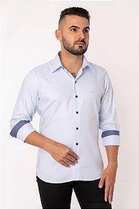 Camisa Casual Maquineta Manga Longa Azul 124-19