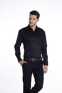 Camisa Slim Lisa Com Elastano Manga Longa Preta 316-20